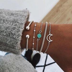 Silver turquoise moon stacked boho bracelets set